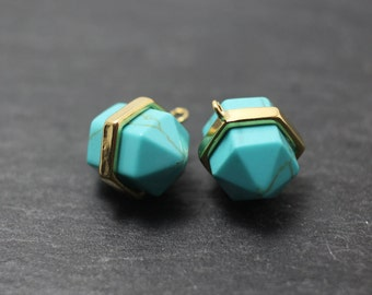 P0228/Anti-Tarnished Gold Plating Over Brass/Genuine Turquoise Hexagonal Pendant/13x13mm/2pcs