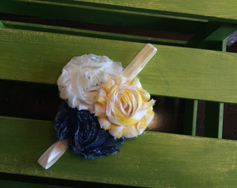 Ivory, yellow stripe and denim chiffon flowers with ivory elastic banding