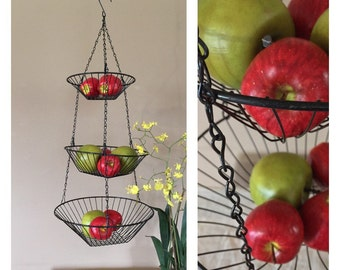 Vintage Three Tier Hanging Baskets / Hanging Vegetable Baskets / Hanging Wire Baskets / Hanging Baskets