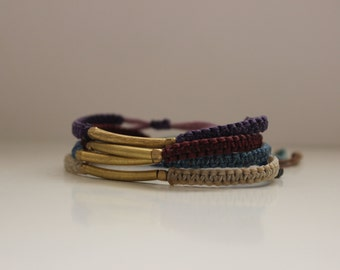 Hand-Made Macrame-Brass Bracelet, Multi-Colored