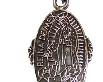 Virgen de Guadalupe .925 Sterling Silver Pendant - Our Lady of Guadalupe Pendant