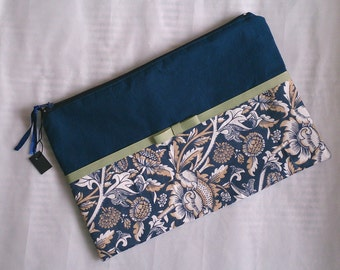 Handmade fabric clutch purse / cosmetic bag / pencil case, with ribbon detail