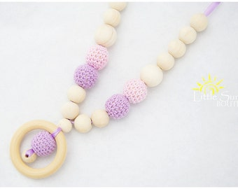 Purple Pink Wood Crochet Teething Necklace for Mom. Nursing Breastfeeding Necklace