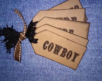 Western Hang Tags, Set of 8, with phrases