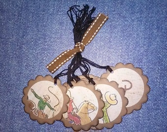 Western Hang Tags, Set of 8, with Western Scenes
