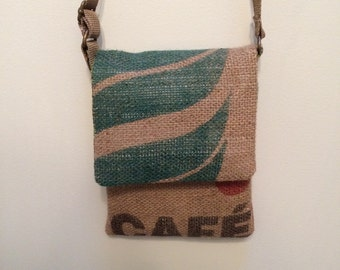 Burlap Coffee Bag Cross body bag