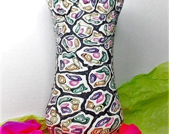 Multicolored polymer clay vase, handmade, one of a kind, home decor, cane technique