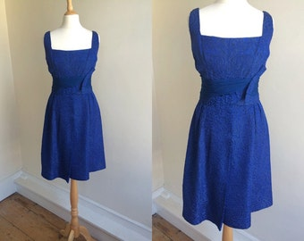 1960s Blue Brocade Party Dress with Chiffon Waist Detail  * Size Small