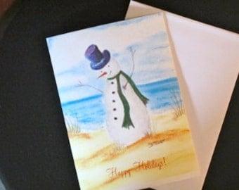 Snowman Greeting Card, Xmas Card, Nautical Holiday Card, Beach Inspired Xmas Card, Christmas Card, Ocean Xmas Card