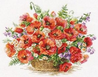 Cross Stitch Kit by Alisa - Basket of Poppies