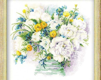 Cross Stitch KIT Riolis - WATERCOLOUR PEONIES