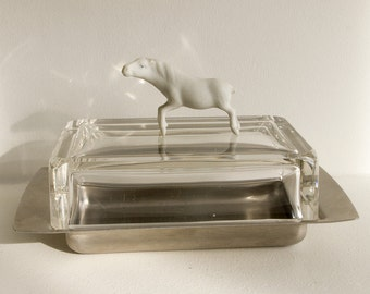 Vintage stainless steel and glass butter dish