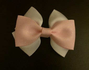 Glitter Pink and White Hair Bow