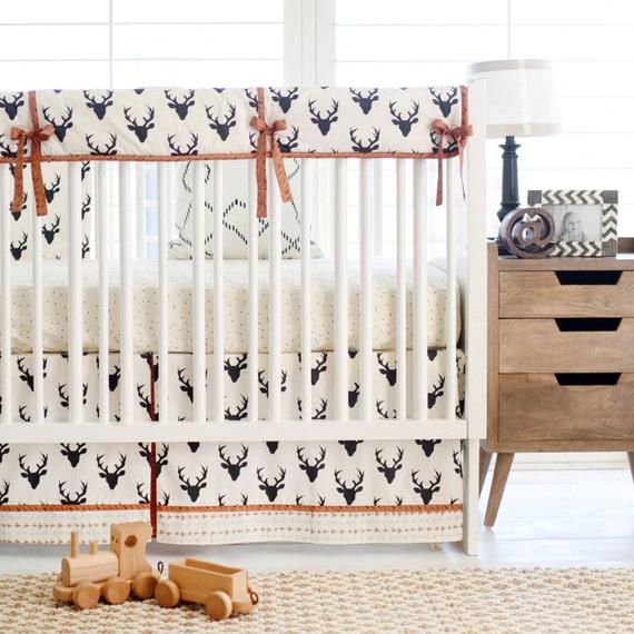 Deer Crib Bedding For Boys : Black deer woodland baby bedding for boys by