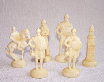 Vintage Chess Pieces. Set of 6 Old Slavic Figurines. Collectible Chessmen. Faux Ivory Figurines. Vintage Soviet Chessmen.