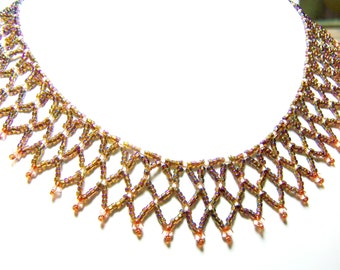 Beadwork Necklace Brown & Pink Netting