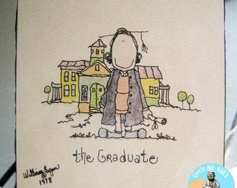 "William Eagan Print ""The Graduate"" 1978, unique retro mirrored frame & matting - Collectible or super cool Graduation gift, very 70's kitsch"