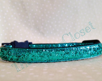 Turquoise Glitter Cat Collar