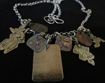 Italian sterling silver belcher chain,  Berber Fatimah hand, khamsa, handmade silver, Morocco,  two Roman coins. FREE SHIPPING WORLDWIDE