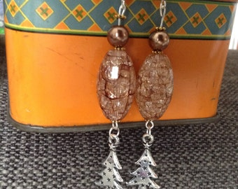 Long Christmas Tree Charm Bead Dangle Handmade Earrings