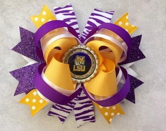 LSU hair bow-LSU large layered bow-Lsu tiger bow-football Lsu hair bow-LSU purple yellow gold and white hair bow-Lsu boutique layer hair bow