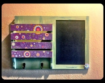 Memo Board with Chalk Board, Paper File and Metal Hooks in Mint Green and Purple