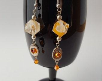 16006E Lamp Work, Czech Crystal and Silver Tone Metal Earrings