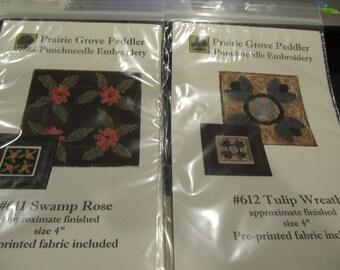 2 Prairie Grove Peddler Punch Needle Embroidery ( Swamp Rose & Tulip))
