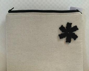 Canvas iPad case - double zipper iPad cover - zippered iPad case