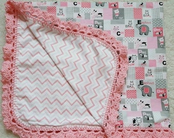 Handmade reversible double layer flannel baby blanket with hand crocheted edging/ baby girl blanket/animals/ABC's/pink and gray blanket/pink