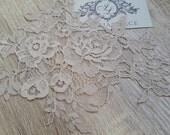 Nude lace applique, lace motif, bridal lace applique
