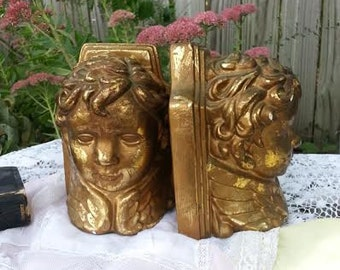 Cherub Bookends - Angel Bookends - Vintage Bookends - Gold - Cherub Statue -  Angel Statue - Bookends - Book Ends