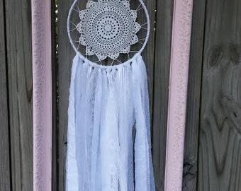 Dream Catcher - Shabby Chic Dream Catcher - Nursery Decor - Lace Dream Catcher - White Dream Catcher - Baby Gift - Wedding Decor - Pink Fram