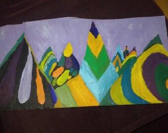 Trippy moutains impressionist original oil landscape painting