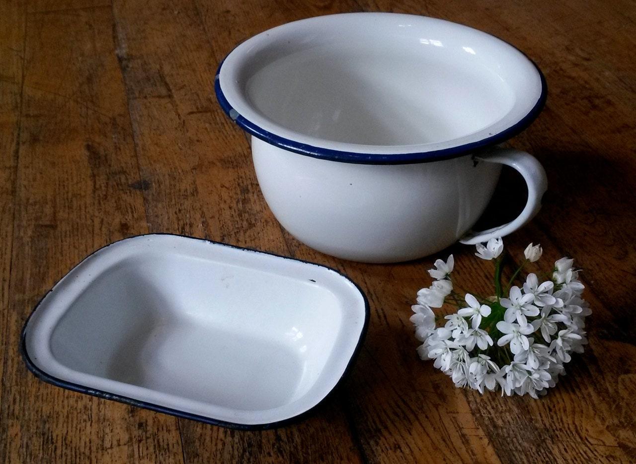 Vintage Enamel Pot And Dish Chambre Pot Vintage By