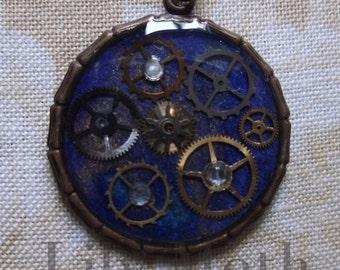 Blue Steampunk Pendant Necklace