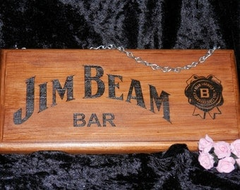 Jim Beam Bar Sign - Engraved, Painted Then Stained - Personalised - Fathers Day - Christmas Gift - Engraved & Painted