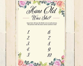 How old was the bride games, Floral Printable Bridal Games, Floral Bridal Shower Games, Guess Bride Age Games, Bridal shower activity