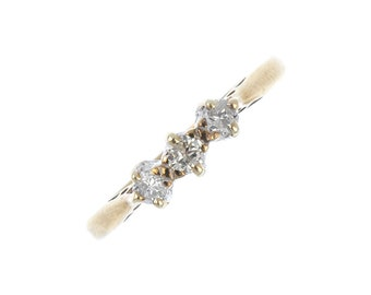 Vintage 9 Carat Yellow Gold Three-Stone Diamond Ring, Engagement, Cute, Delicate, Simple, Stacking, Gift, UK Seller, UK Size M 1/2