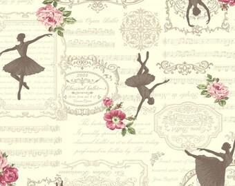 1/2 yard Quilt Gate USA | Ruru Bouquet Prima | Silhouette of Ballerina on Cream | # RU2260-13A