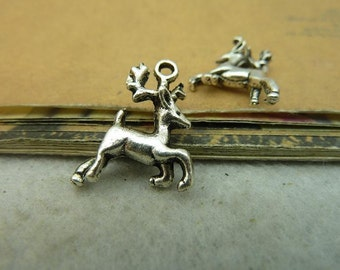 20 Reindeer Charms Antique Silver Tone 2 Sided 3D