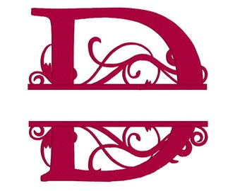 letter D machine embroidery design, fill embroidery design, instant download