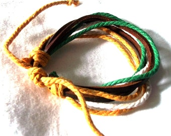 Jungle Hues Hemp And Leather Surfer Cuff, Wristband, Ethnic Bracelet
