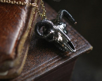 Black Goat Skull Necklace by Defy / Goat Skull Charm Pendant Necklace Jewelry