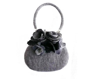 Grey felt bag  felted bag  Purse Felted bag Shoulder Bag felt handbag Bags  art  Purses boho purse  roses Wet felting Roses
