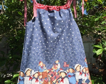 SALE!!! 4T/5T  girls fully lined summer sundress/ patriotic pillowcase dress/ Fourth of July dress