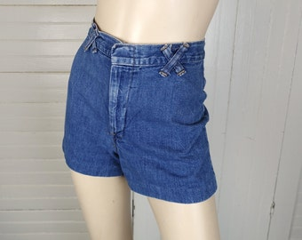 70s Denim Shorts- 1970s High Waist Jeans- Pin Up / Hot Pants in Blue