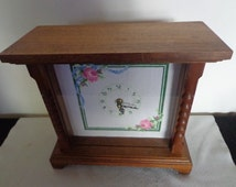 Vintage Handcrafted Wooden/Cross Stitch Clock