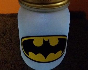 Pair of Etched Super Hero Solar Jars