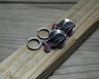 Ruby earrings Sterling silver earrings Oxidized Delicate earrings